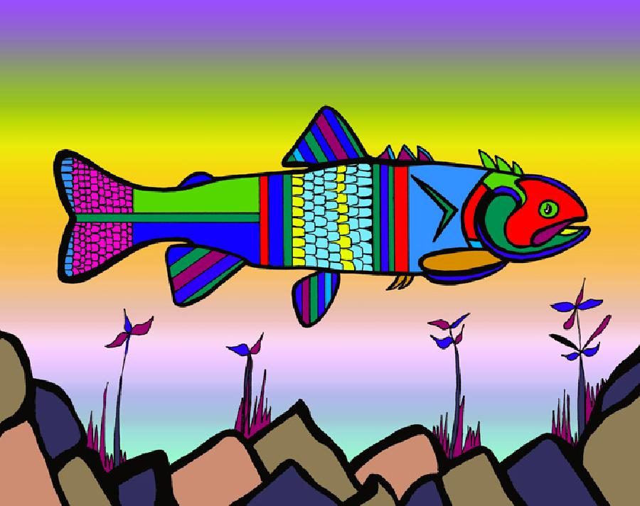 Herring (Fish 2 color 3). Choose fine art paper or museum quality canvas. Pricing upon request. 11 x 14