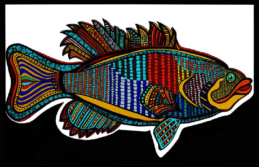 Small Mouth Bass (Fish 3 - color 1). Available in fine art paper and museum quality canvas. Canvas is gallery wrapped with 1 1/2 inch bars. Pricing upon request. 11 x 17