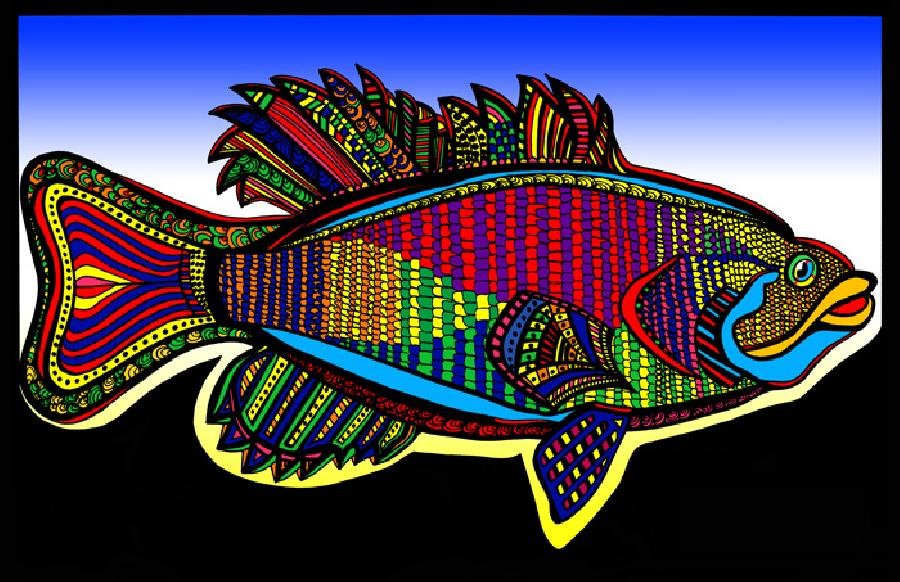 Small Mouth Bass (Fish 3 - color 3). Available in fine art paper and museum quality canvas. Pricing upon request. 11 x 17
