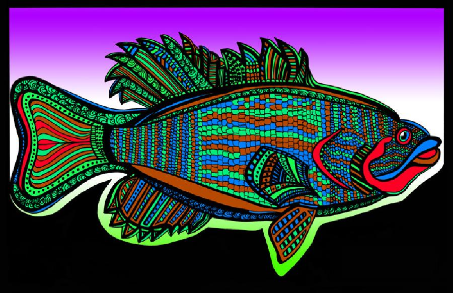 Small Mouth Bass (Fish 3 - color 6). Available in fine art paper and museum quality canvas. Pricing upon request. 11 x 17