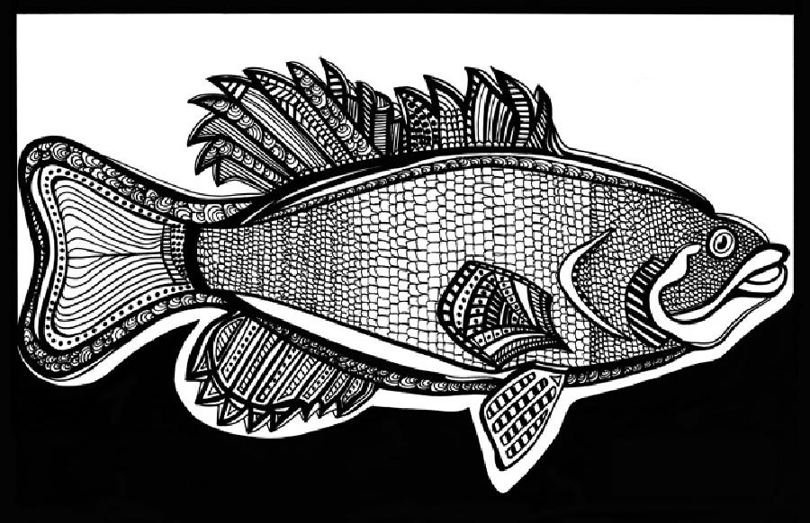 Small Mouth Bass (Fish 3) Blk & White. Available in fine art paper or museum quality canvas. Pricing upon request. 11 x 17