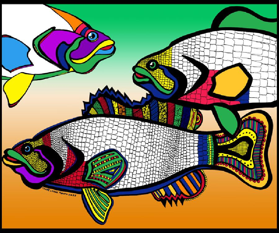 Triple Bass (Fish 4 - color 1). Available in quality fine art paper. Also available in museum quality canvas. Pricing upon request. 14 x 17
