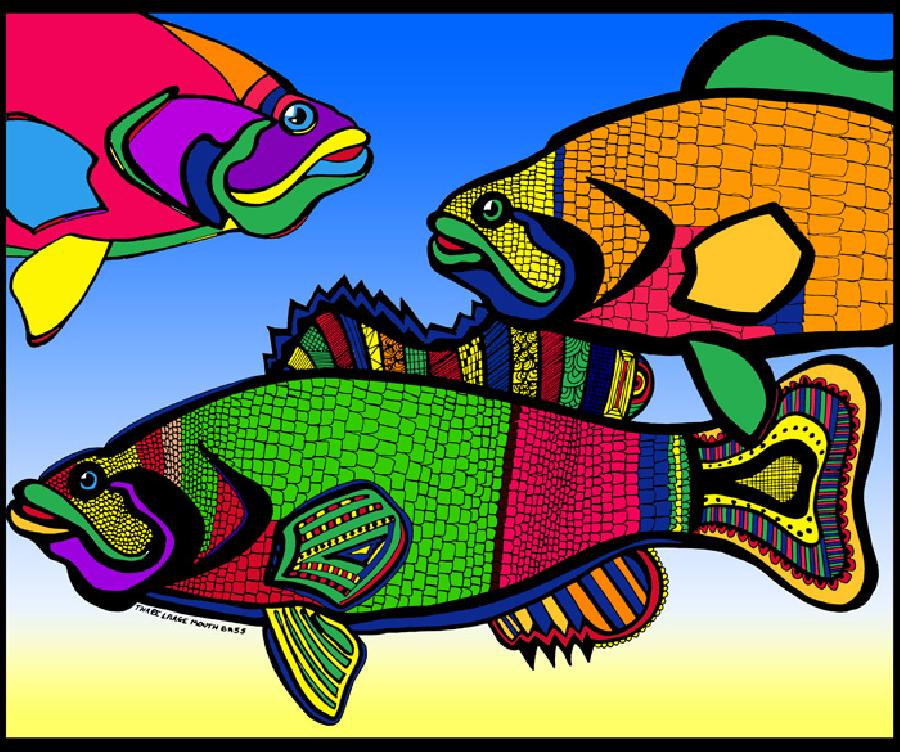 Triple Bass (Fish 4 - color 2). Museum quality fine art paper or museum quality canvas. Pricing upon request. 14 x 17