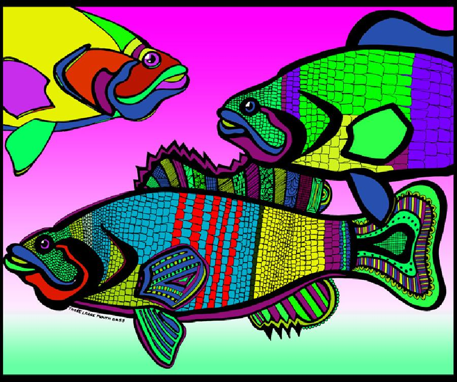 Triple Bass (Fish 4 - color 3). Pricing upon request. 14 x 17