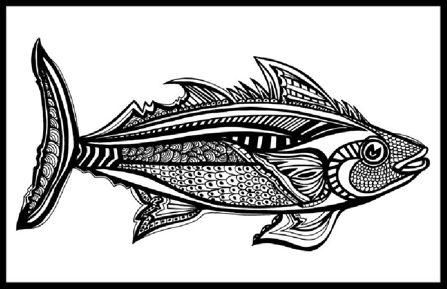 Tuna (Fish 5) Blk & White. Available in museum quality fine art paper and museum quality canvas. Picing upon request. 11 x 17
