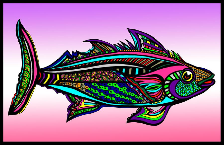 Tuna (Fish 5 - color 1). Pricing upon request. 11 x 17