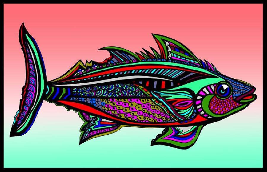 Tuna (Fish 5 - color 2). Pricing upon request. 11 x 17