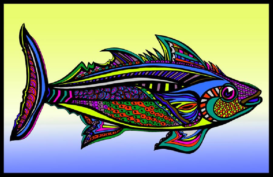 Tuna (Fish 5 - color 3). Museum quality canvas or fine art paper. Pricing upon request. 11 x 17