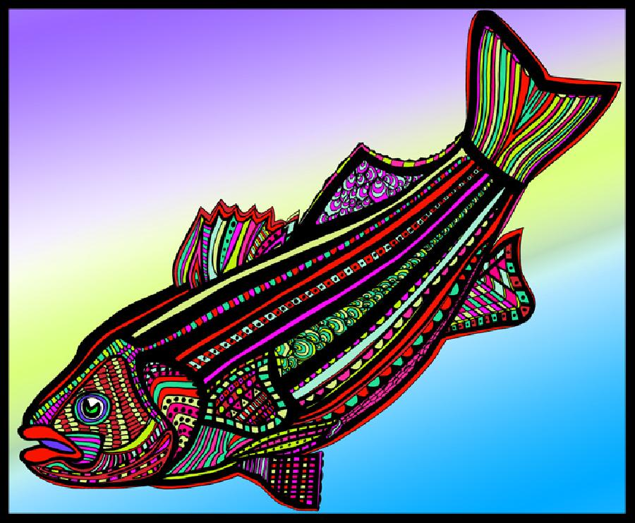 Striped Bass (Fish9-color 2). Select fine art paper or museum quality canvas. Pricing upon request. 16 x 20 inchws.
