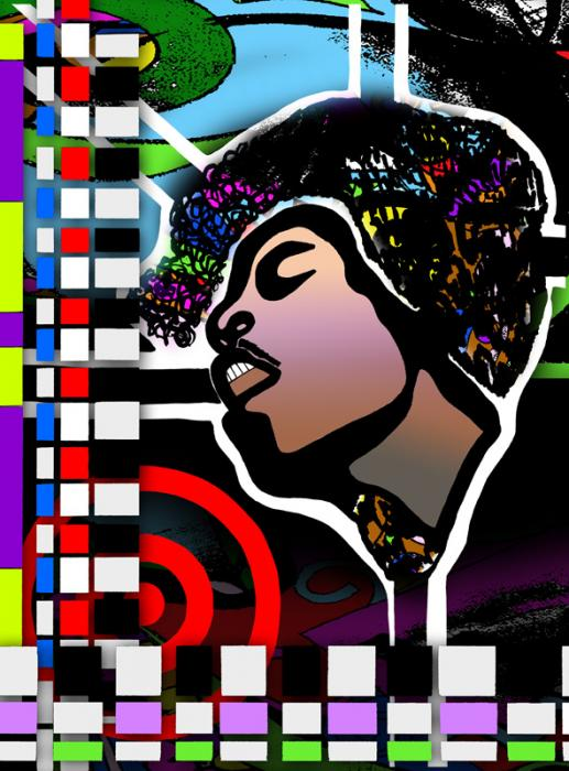 Jimi II. Canvas 18 x 24 inches. Museum Quality Canvas: 18 x 24 inches. Gallery wrapped with 1 1/2 inch stretcher bars. Embellished Giclee on canvas with image treated with paint, ink, diamond dust and sparkles to create depth. Artwork all oriiginal except for image. Image has been embellished with paint and other mediums. Pricing upon request.