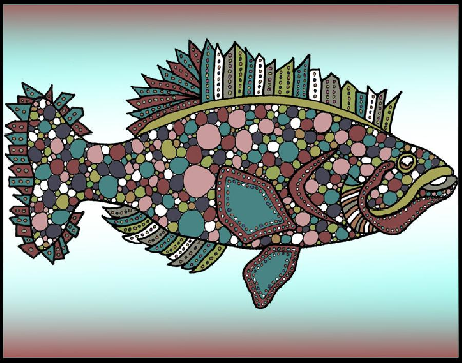 Flounder (KFish 1 - color 1). New color version in this fish design. Available in fine art paper and museum quality canvas. Can be ordered as a set.