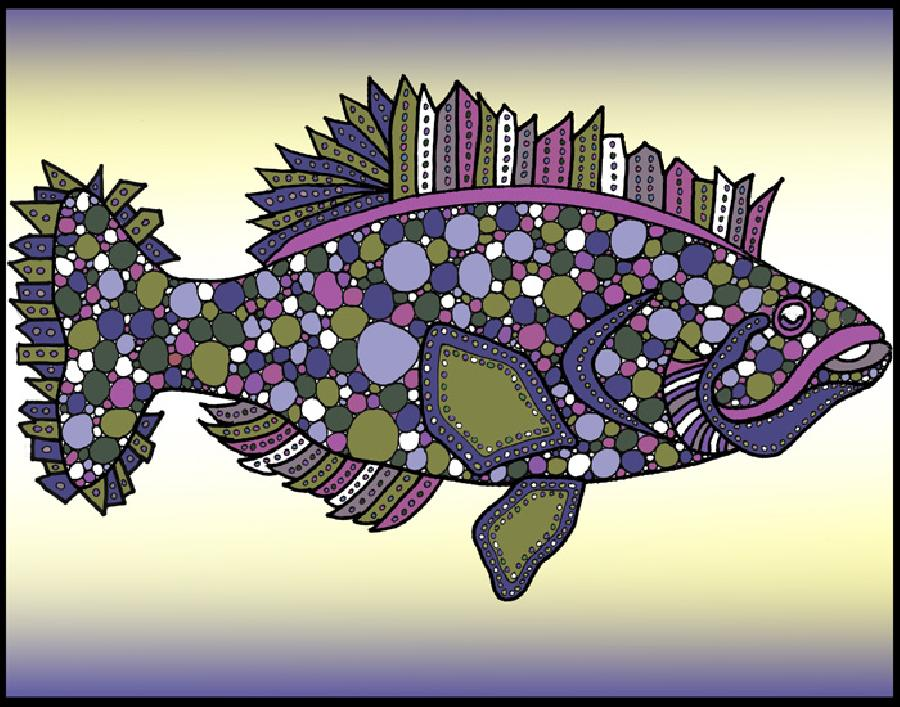 Flounder (KFish 1 - color 2). Attractive new color version of this fish design. Available in fine art paper and museum quality canvas. The flounder-the famous bottom fish.