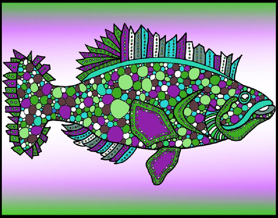 Flounder (KFish 1 - color 3). New color version of this fish design. Available in fine art paper or museum quality canvas. Especially for the bottom fisherman in your family.