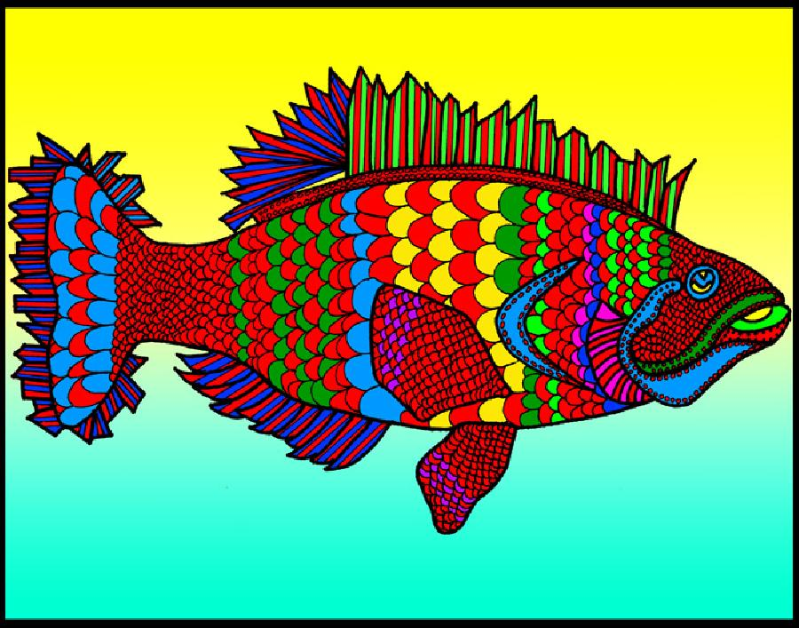 Flounder (KFish 2 - color 1). Available in fine art paper and museum quality canvas. Pricing upon request. 11 x 14