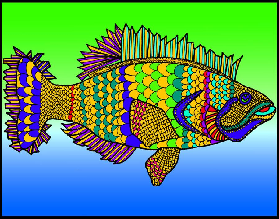 Flounder (KFish 2 - color 2). Available in quality fine art paper and museum quality canvas. Pricing upon request. 11 x 14