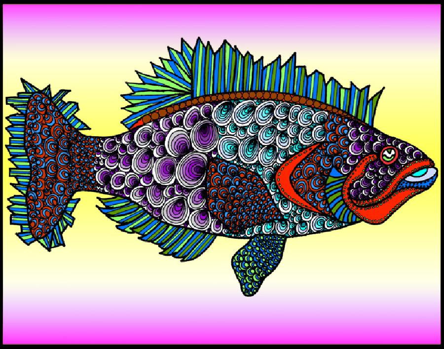 Fluke (KFish 3 - color 2). Pricing upon request. 11 x 14
