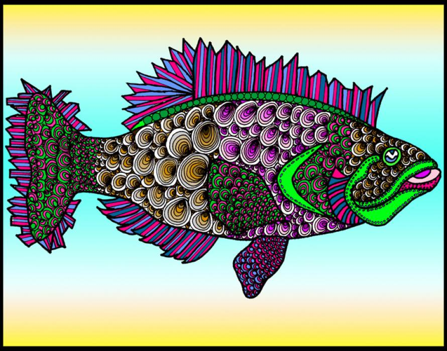 Fluke (KFish 3 - color 3). Available in fine art paper and museum quality canvas. Pricing upon request. 11 x 14