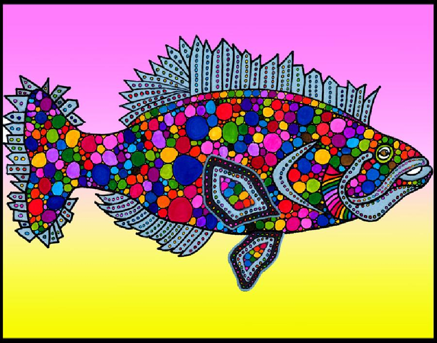 Flounder (KFish5 - color2). A colorful design with a unique background. Available in fine art paper or museum quality canvas.