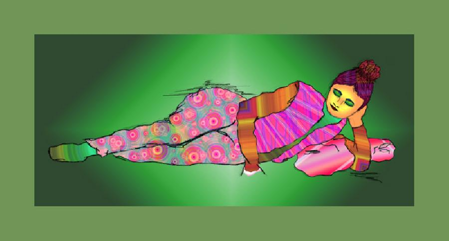 Lounging Lady color-FK-2. Lounging Lady with a lighter border. Available in museum quality canvas or fine art paper.