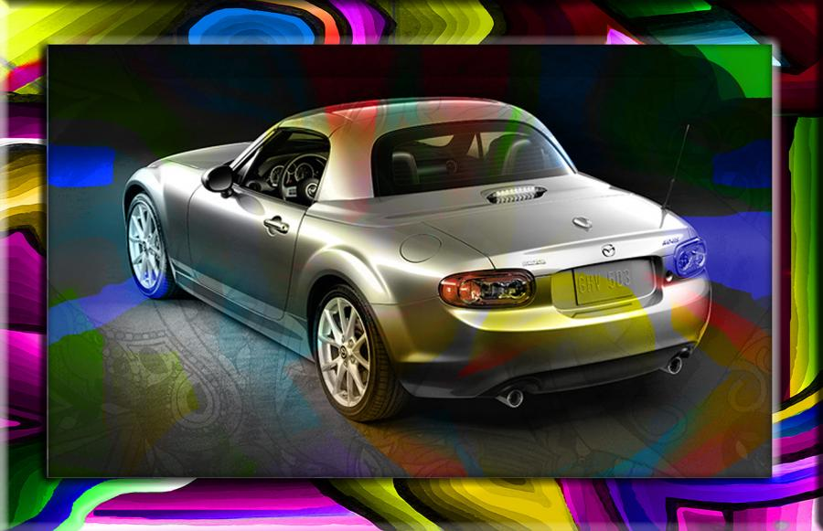 Miata-MAZDA MX5. Send in or email your favorite vehicle for redesign. Prices and size upon request. This is the Artists personal vehicle.