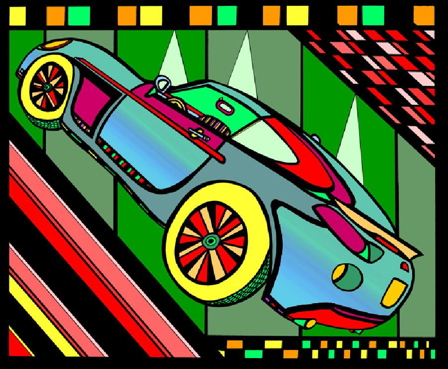 Sports Car- Color 1. Available in fine art paper and museum quality canvas. Pricing upon request.