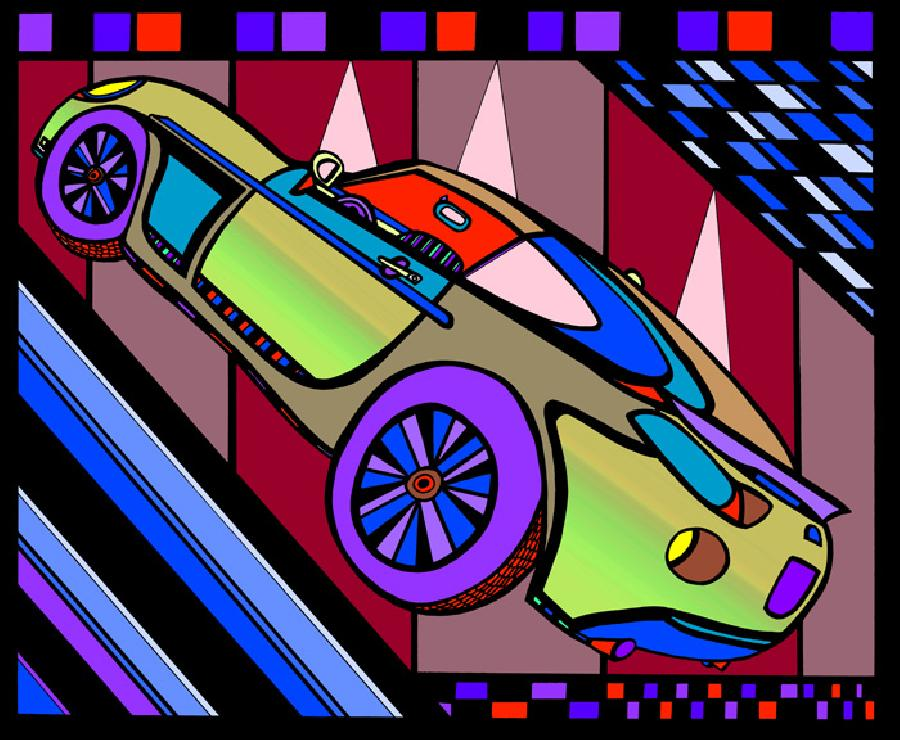 Sports Car- Color 2. Bright colorations with a strong presence. Select fine art paper or museum quality canvas. Pricing upon request.