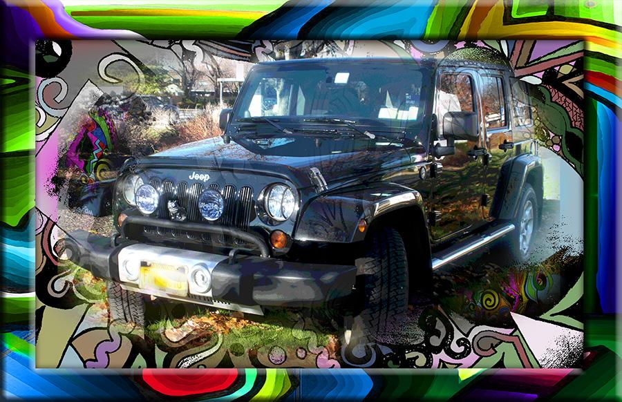 JEEP-ER. Send in or email a photo of your favorite vehicle for redesign. Price and size upon request. This Jeep belongs to the Artist.