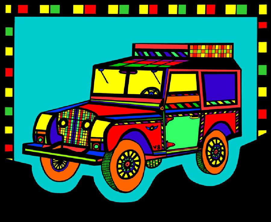 Safari Truck 2- Color 1. Another unique coloration of this design. Also available in black & white. Pricing upon request.