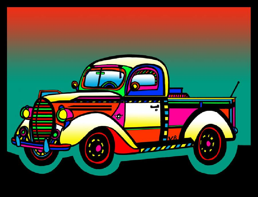 Vintage Truck - color 1. A vintage truck with unique color and design. Fine art paper or museum quality canvas available. Pricing upon request.