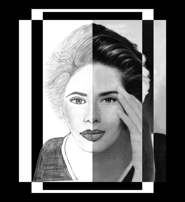 Pretty Woman 2 (B&W- FK). A Pretty Woman- photo realism portrait. Unusual composition. Available in museum quality fine art paper as well as museum quality canvas. Canvas can be gallery wrapped with 1 1/2/ inch bars.