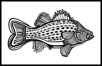 Porgy (Fish 6) Blk & White by Fred Kelly