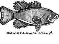 White T-Shirt `Something`s Fishy`! - Small Mouth Bass (black & white)