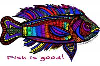 White T-Shirt `Fish is good!` - Black Fish (color)