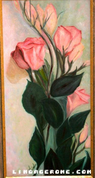 Pink Roses. Oil on canvas. Giclee available in sizes.