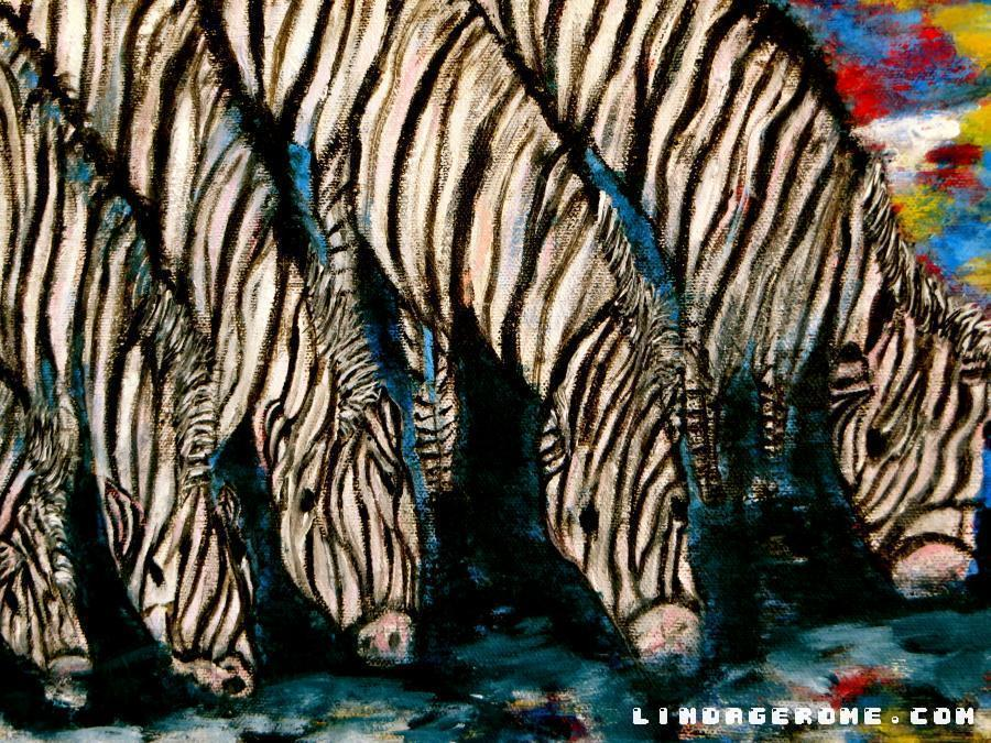Zebras. Giclee available in various sizes.