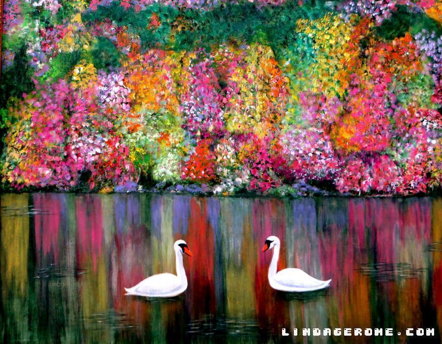 Swans. Reflections and color. Many sizes available in Giclee.