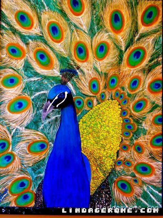 Peacock. Gorgeous color with feathery light strokes. Many sizes available in Giclee.