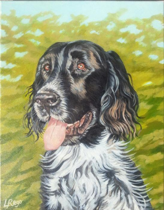 Oil portrait of dog.