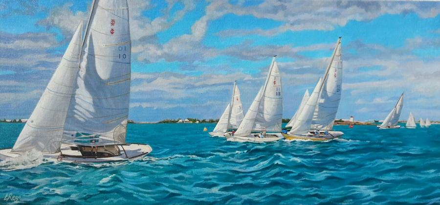 Starting Point. Lisa-Anne has created this latest oil painting after being approached by the IOD Sailing Class, who felt that she was the ideal candidate for the work. Both her meticulous rendering of local sailing vessels, combined with her ability to capture the form and dynamic movement of water, made her their first choice. Lisa-Anne enjoyed capturing the feeling of movement and windswept conditions, very different from her current pieces. Her love for using shadow and light to render form plays a key part in this work. <br /><br />These unique IOD racing vessels are captured as their race begins. The artist watched the race from a motor boat at close proximity. This latest painting is now available in 3 sizes as hand touched embellished giclee prints by the artist at this time. <br /><br />The original oil is sized 36 x17`. Price on request. Order quickly to achieve low edition numbers.<br />A partnering painting the same size is in progress!