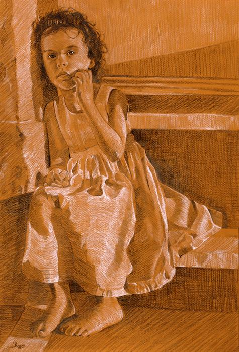 A Girl Sitting on Steps. This is a pastel study done on teracotta paper of a girl sitting on steps, using only black and white pastel, with a little yellow also. Available only as an 11 x 14` double-matted print (see `view additonal image). Featured in the Bermuda Biennial in 2008, judged by overseas art curators, was quite an unexpected honour for a pastel drawing study. It was inspired by the little girl in `Apricot Harmony` (a frequent model!) and the drapery studies of Leonardo da Vinci.Edition size 100