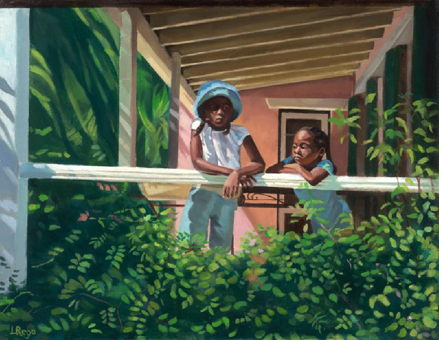 Afternoon Light. This painting depicts two sisters outside a Bermuda veranda surrounded by lush foliage. The younger sister feels dominated by the older sister and their expressions are captured well. This giclee on canvas particularly suits the use of brushwork medium. Edition size 100 and has just been released.