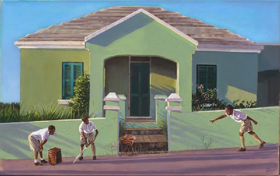Afternoon Shadows. This image shows three schoolboys playing impromptu cricket outside a Bermuda cottage. The painting was isuccessfully juried and became part of the Bermuda Biennial in 2008. Available with brushwork medium and edition size 100.