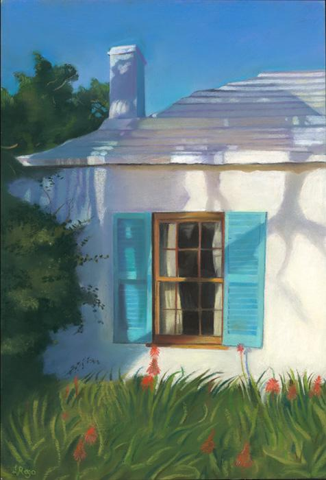 Aloevera Shutters. This is a pastel study of a cottage in Saltkettle, with aloevera flowers infront of the windows. The artist`s love for shadows are apparent in the rooftop. Edition size 100.