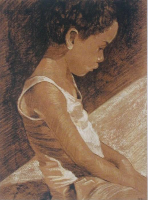 Asher I. This is a pastel study of the same schoolboy drawn from three viewpoints. It was done uing teracotta paper with black,white and yellow pastel. Available only as an 11 x 14` double-matted print (see `view additonal image).