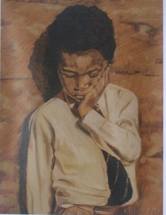 Asher Ii. This is a pastel study of the same schoolboy drawn from three viewpoints. It was done uing teracotta paper with black,white and yellow pastel. Available only as an 11 x 14` double-matted print (see `view additonal image).