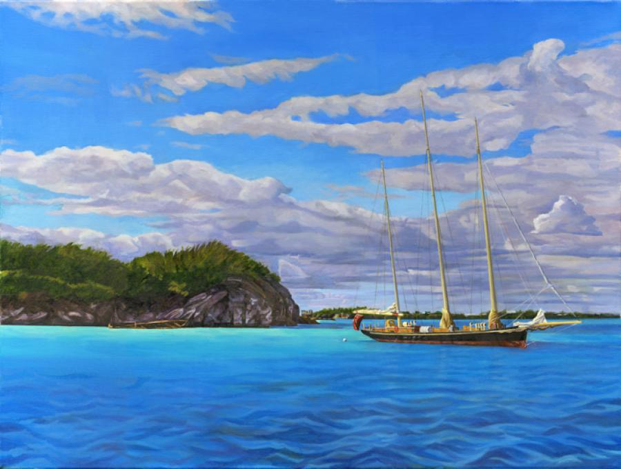 Exploring Castle Harbour. Bermuda`s sloop boat, `Spirit of Bermuda`, is seen here at anchor in front of Non Such Island in Castle Harbour. Castle Island can be seen in the distance and Tucker`s town. The sweeping cloud formations give this painting a majestic mood celebrating the incredible beauty found in Bermuda.
