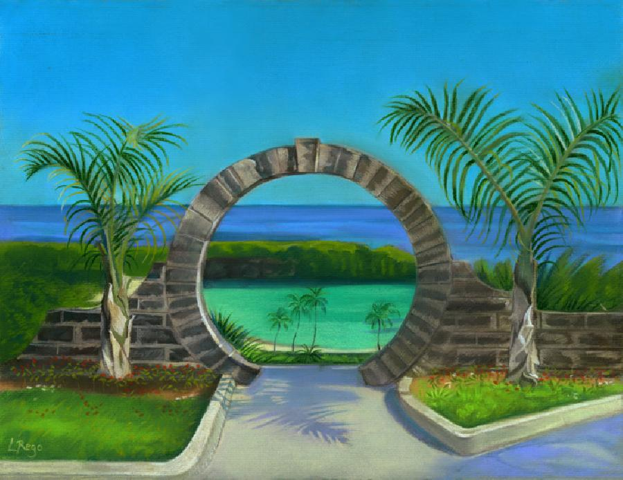 Bermuda Moongate. A soft pastel study of Bermuda`s most unique architectural feature; intended to ensure newlyweds will have a lifelong marriage if they stand below its archway. Available as an original at this time.Edition sizes on giclees just 100 and edition number 1 on all sizes available as a newly released image. Oils can be highlighted over canvas for an extra charge if desired.