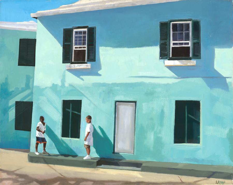 Blue Harmony. One of three paintings to be accepted by a visiting U.S art curating team. This series reflects Lisa-Ane`s favourite theme: local children beside traditional Bermudian homes. Edition size 100.