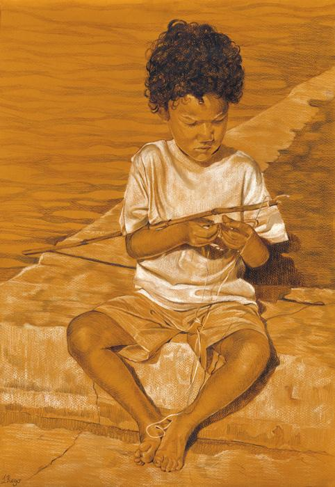 Boy Sitting. This is a pastel study done on teracotta paper of a boy making his first fishing line, using only black and white pastel, with a little yellow also. Available only as an 11 x 14` double-matted print (see `view additonal image).