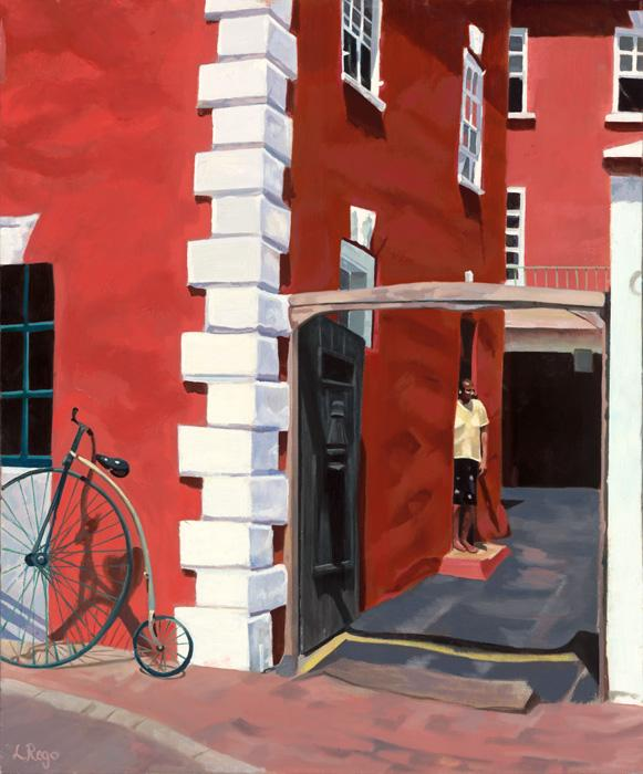 Burnished 2. This is an oil painting of a well-known cycle store in St. George`s and captures a local figure in the doorway. The green unicycle stands out brilliantly against the red. A brushwork medium can be applied onto canvas giclee to make surface feel more like an original.